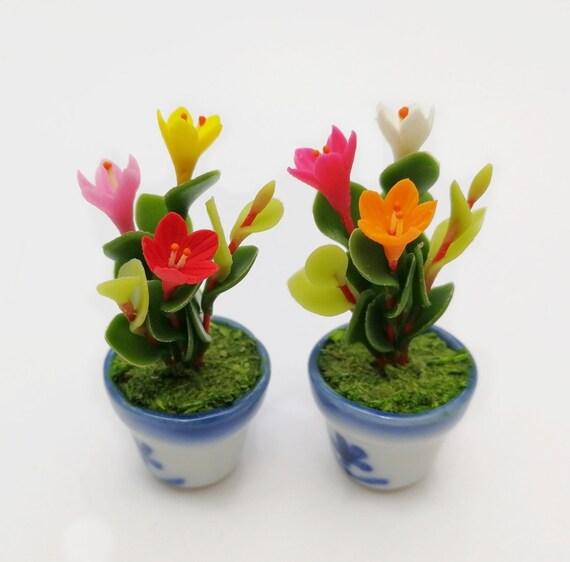 2 Orchid Miniature Flower in Ceramic Pot Dollhouse Miniature Home Decor Gift