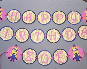 Minion party Banner (pink)