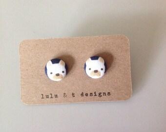French Bulldog Earrings - French Bulldog Jewelry - French bulldog fabric covered button earrings