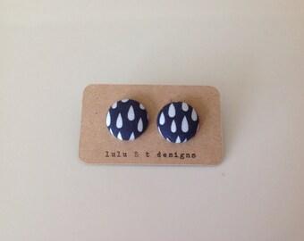 Rain drop fabric covered button earrings
