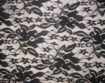 Black 4 way stretch lace Fabric