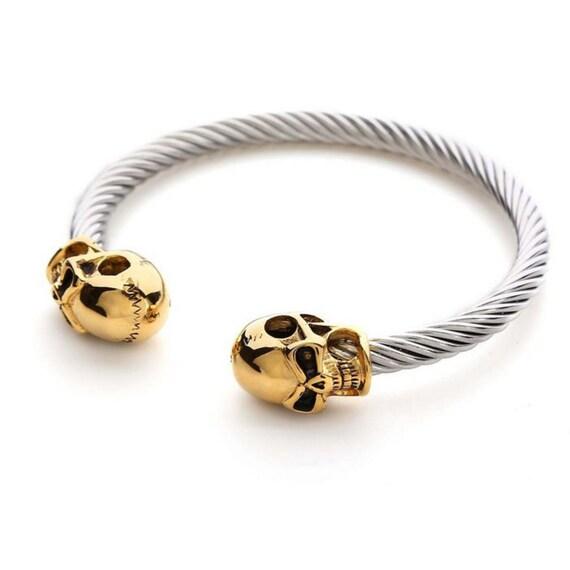 022c2bb65f40 Alexander McQueen inspiré bracelet Bracelet en or ton Double   Etsy