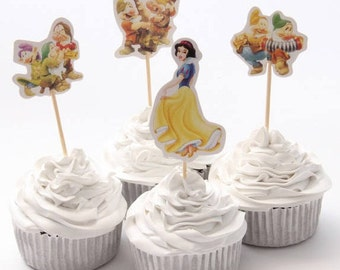 Disney Snow White and Seven Dwarfs Cupcake Double- Sided Toppers/ Food Picks Set Of 24
