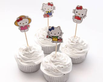 Hello Kitty Cupcake Double-Sided Toppers/ Food Picks Girls Birthday Baby Shower Party Decoration Favor Set Of 24