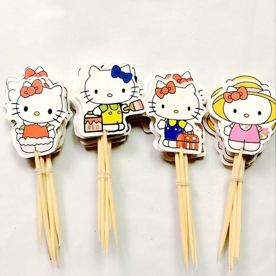 Hello Kitty Cupcake Double Sided Toppers Food Picks Girls Etsy