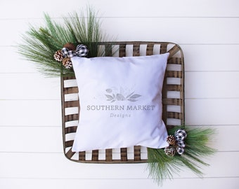 Download Free Christmas Mockup | Pillow Mockup | Throw Pillow Mockup | Farmhouse Style Mockup | Flat Lay Mockup |Stock Photo | Add Your Design Mockup PSD Template