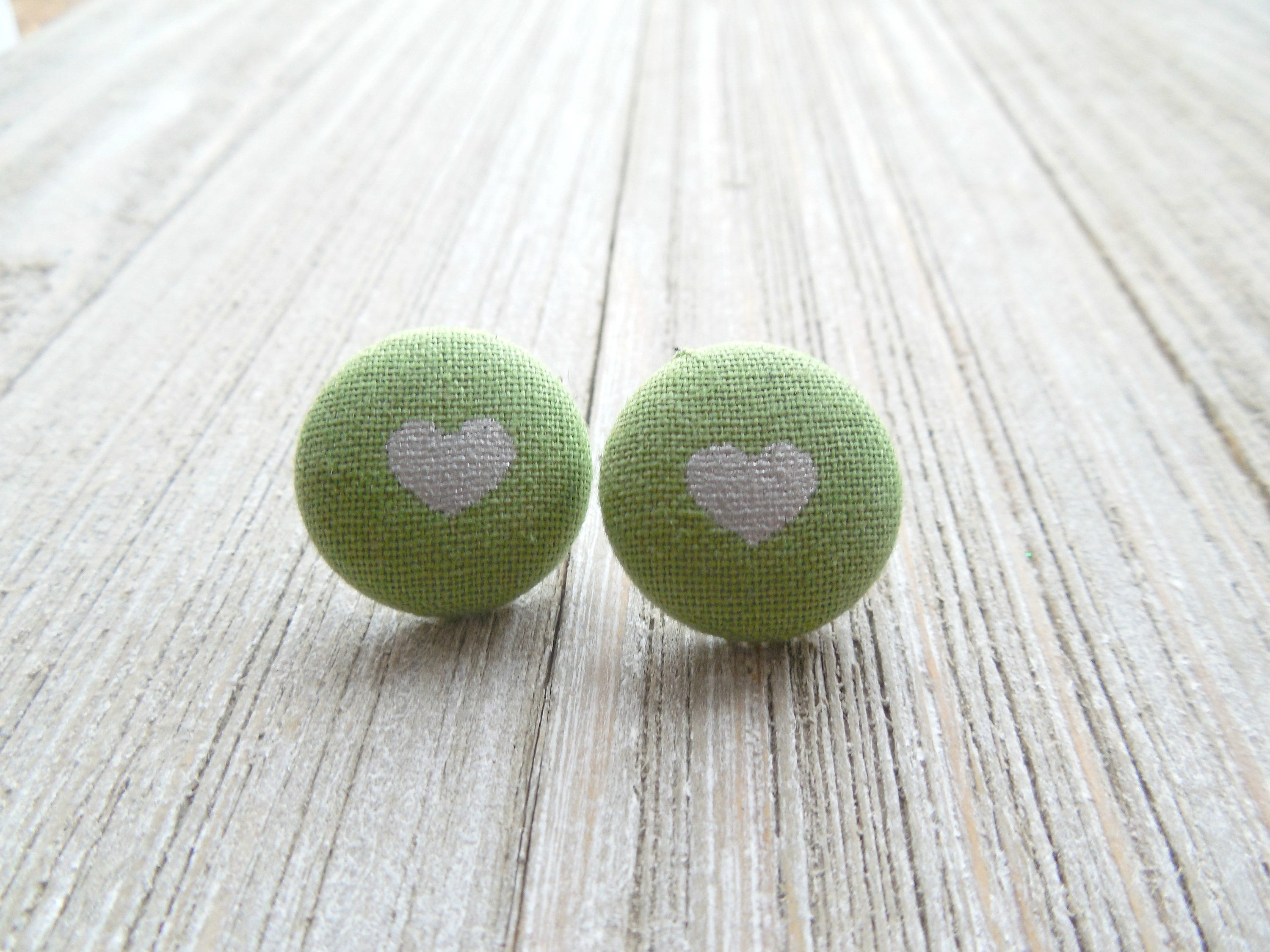 Hearts Button Earrings-Green Heart Clip Ons-Green Button
