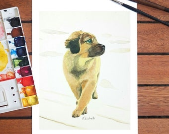 Shepherd dog puppy, A5 giclée fine art print of original artwork, watercolor on paper, gift idea for children, home, nursery decoration, art