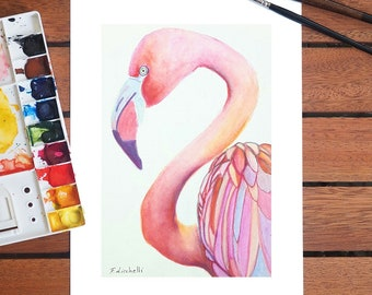 Print, pink flamingo, A4 giclée fine art of original artwork, watercolor on paper, gift idea for babies, home office nursery decoration.