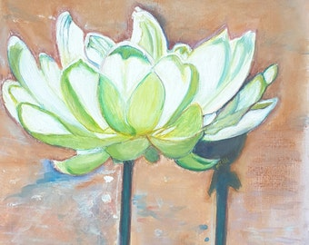 White lotus, acrylic panting on paper, original picture by Francesca Licchelli, gift idea for her, traditional and modern home decoration.