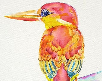 Kingfisher, Giclee fine art print of an original watercolor, 8x10, gift idea for birdwatching enthusiasts, wall art, home office decoration.