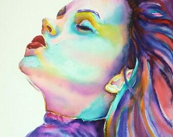 Woman portrait with closed eyes, original painting by Francesca Licchelli, wedding list, anniversary gift idea, modern decor, wall art.