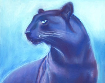 Original drawing, black panther, ooak, soft pastels on paper, gift idea for boy's bedroom, First Communion, home office decoration, wall art