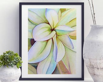White dahlia flower painting, handmade watercolor, romantic and delicate gift idea, modern or traditional decor, relaxing home decoration.