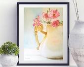 Jar pink flowers painting, original watercolor still life painting, floral watercolor, ceramic vase flowers art, bedrooom decor wall art.