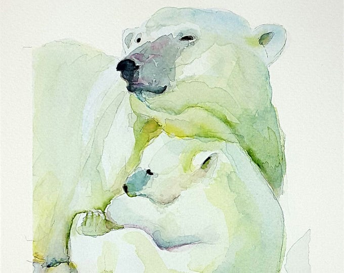 Featured listing image: Giclée fine art print, bear mom and her puppy, A5, original artwork, watercolor on paper, gift idea for babies, home office decoration, art.