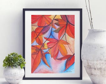 Autumn picture, fall, maple red leaves, original watercolor by Francesca Licchelli, gift idea for her, modern decor, home office decoration.