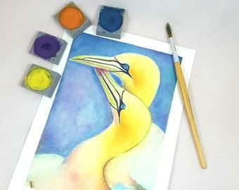 Original watercolor, birds in love, romantic gift idea for engagement, baby shower decoration, bedroom decor, nursery art, children room.