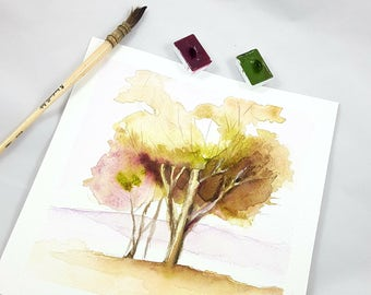 Small picture, landscapes with trees, copy of author, traditional watercolor, elegant gift idea for him, lounging, studio office decoration.
