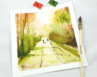 Tree lined avenue, little sqaure watercolor, copy of author, gift idea for him, anniversary, home inauguration, traditional decor, wall art