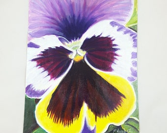 Acrylic picture on paper depicting a pansy, original artwork by Francesca Licchelli, gift idea for her, modern decor, home decoration.
