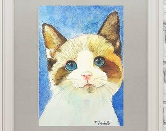 Kitten, illustration, A5 giclée fine art print of original artwork, watercolor on paper, gift idea for babies, home nursery decoration, art.