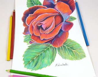 Pencils drawing, rose with leaves, original artwork, gift idea for her birthday, realistic home decoration, traditional picture, wall art.