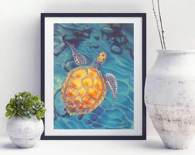 Featured listing image: Sea Turtle, giclèe print, fine art, 8x10 inch., aceo, diving school decoration, beach house, snorkeling enthusiasts gift idea, wall art.