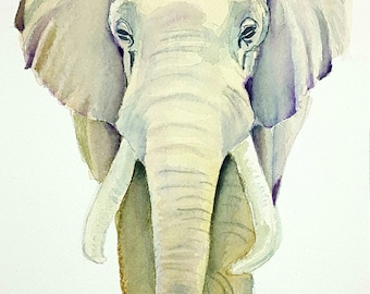 Elephant painting, watercolor, original, ooak, gift idea for birthday, wall art, home office decoration, living room art, ethnic style.