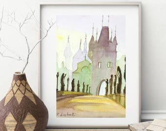 Watercolor, Prague landscape, glimpse on town, bridge with statues and caste, gift idea for anniversary, traditional home decoration.