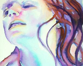 Giclée fine art print, original watercolor by Francesca Licchelli, woman face, home decor idea, modern decoration, wall contemporary art.