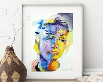 Woman face, intense expression, colored portrait, watercolor, copy of author, elegant present, modern art, contemporary, home decor, lounge