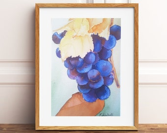 Grapes, giclèe print, fine art, original artwork, watercolor, kitchen decoration, tavern, restaurant, birthday gift idea, home inauguration
