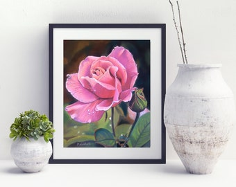 Pink rose, giclèe fine art print, 8x10 inch., home office decoration, bedroom, mom gift idea, traditional picture, wall art, inauguration.