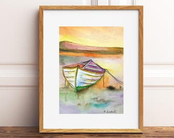 Seascape with boat on sunset, traditional watercolor, copy of author, warm colors, gift idea for him, beach house decoration, office decor.