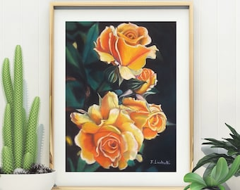 Yellow roses, original pastel painting, 12x16 inch., traditional home decoration, bedroom decor, lounge, living room, gift idea for her.