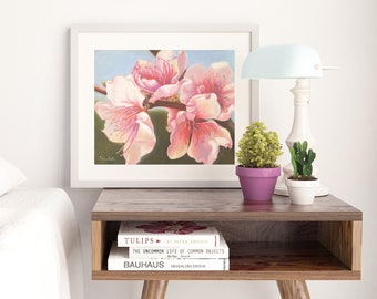Cherry blossoms print, romantic gift for her, home office decoration, soft pastels on paper, floral painting, shabby chic style, modern art.