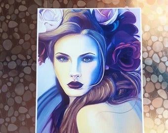 Glicée print of original oil painting, Beautiful woman with flowers on the head, fine art, elegant gift idea, decoration, modern decor.