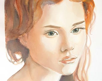 Woman portrait, watercolor, original by Francesca Licchelli, girl's face, wall art, home decoration for living, lounge, contemporary art.