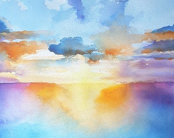 Seascape, giclée fine art print of original artwork, watercolor on paper, gift idea for him, home office decoration, traditional, modern art
