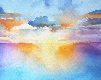 Seascape painting, sunset on the sea, original art by Francesca Licchelli, landscape, painting, special present for him, contemporary art.