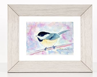 Little bird on the branch, original watercolor painting by Francesca Licchelli, hanging picture, present for babies birth, nursery decor.
