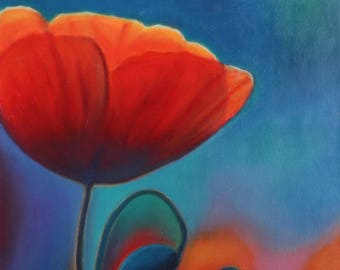 "Giclée fine art print of original artwork, oil on canvas, ""Night of poppies"", elegant gift idea for girl or lady, home decoration, wall art."