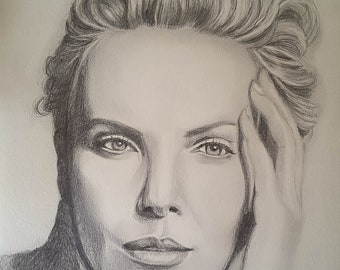 Charlize Theron, original drawing, one of a kind, OOAK, pencil on paper, 21x30 cm, 8x12 inc., gift for actress fan, famous woman portrait.