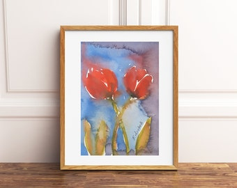 Framed painting, tulips, original watercolor, tiny picture, dining room or bedroom decoration, art, gift idea for her birthday.