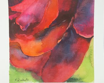 Red rose, watercolor, original by Francesca Licchelli. Square painting. One of a kind. Special gift idea for birthday. Living decor.
