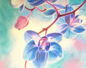 Blue orchids, original painting, romantic gift idea for her, birthday, anniversary, home office decoration, bedroom, living room, wall art.