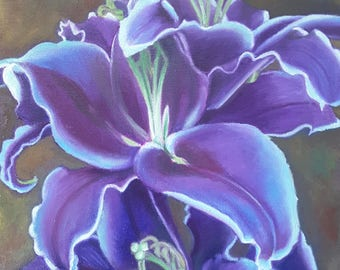 Oil painting on canvas, purple and blue lilies, 7 x 10 inch., ready to hang, orignal artwork, gift idea for her, bedroom decoration, lounge.