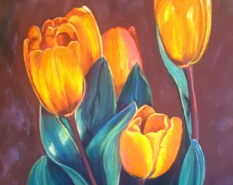 Orange tulips, original pastel painting, romantic picture, birthday gift idea, inauguration new home, bedroom decor, lounge, living room.