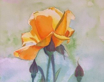 Yellow rose with buds, original watercolor, home office decor, bedroom decoration, living room, lounge, romantic gift idea for her, wall art